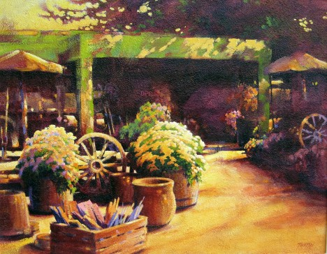 Peter Lee's Garden at the old place, painted by Jack Turpin